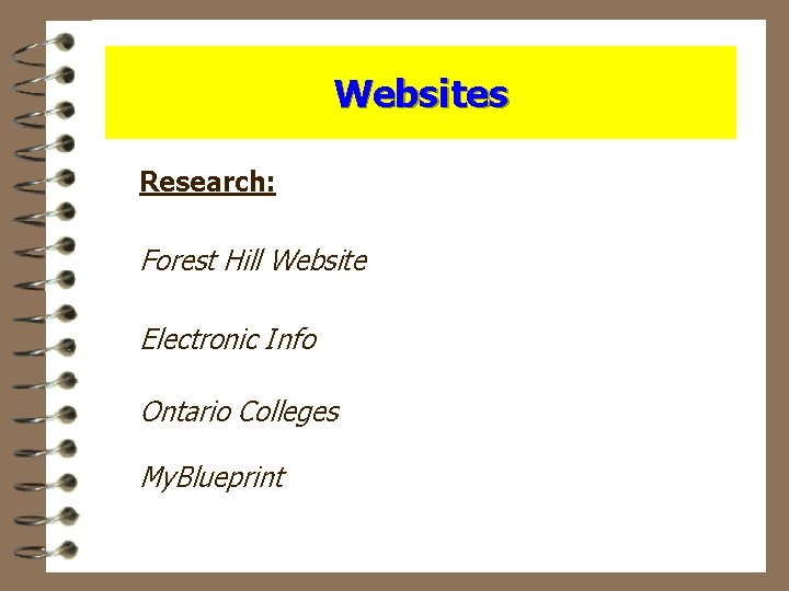 Websites Research: Forest Hill Website Electronic Info Ontario Colleges My. Blueprint