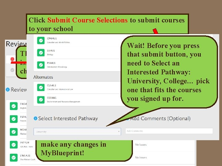 Click Submit Course Selections to submit courses to your school This is good; there