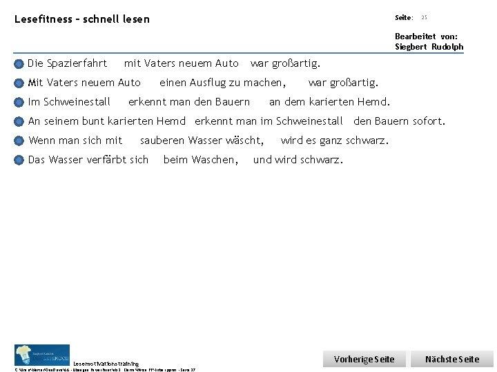 Übungsart: Lesefitness – schnell lesen Seite: 25 Bearbeitet von: Siegbert Rudolph Die Spazierfahrt mit