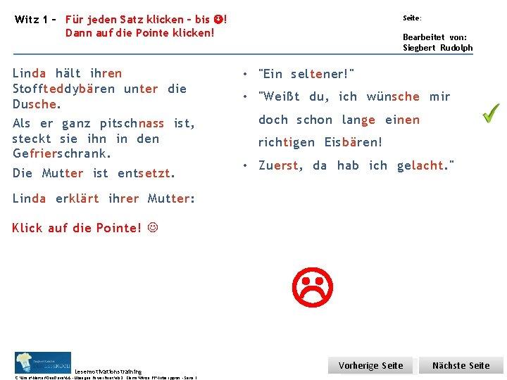 Übungsart: Witz 1 – Für jeden Satz klicken – bis ! Dann auf die