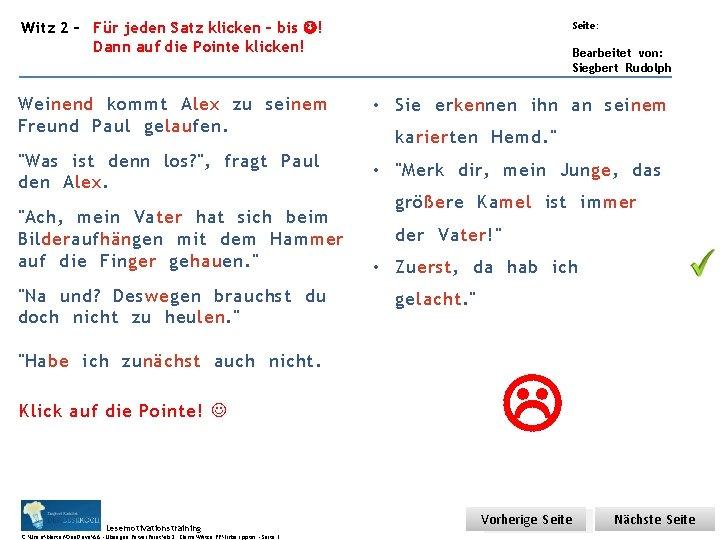 Übungsart: Witz 2 – Für jeden Satz klicken – bis ! Dann auf die