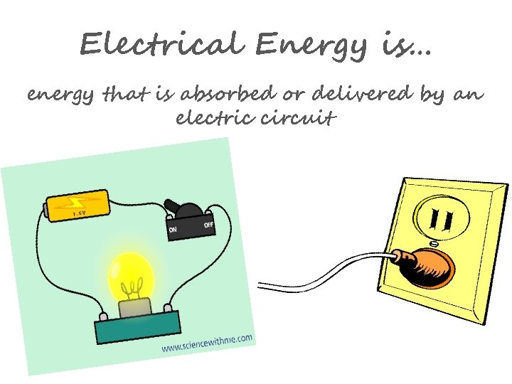 Electrical Energy is… energy that is absorbed or delivered by an electric circuit