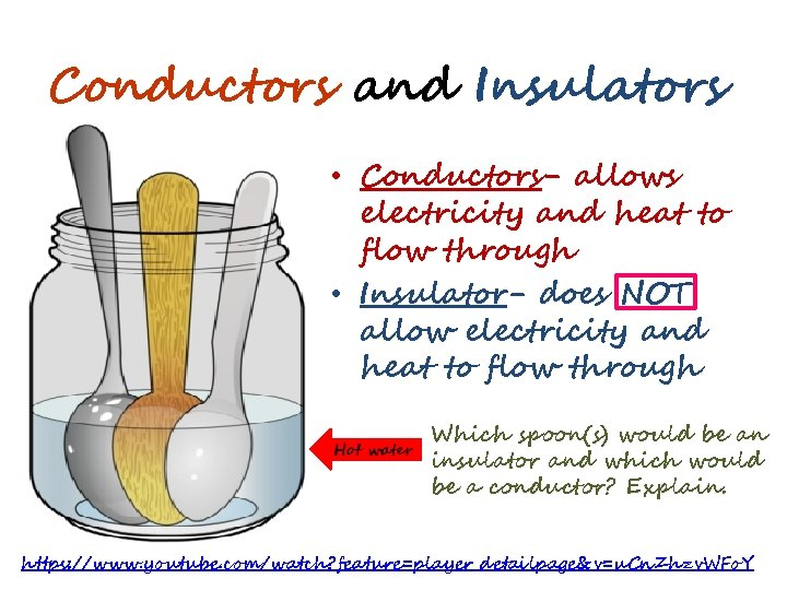 Conductors and Insulators • Conductors- allows electricity and heat to flow through • Insulator-