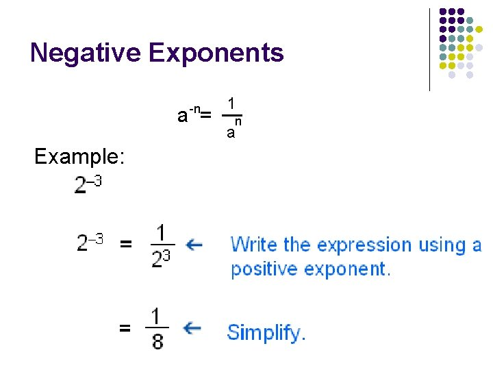 Negative Exponents -n a = Example: 1 n a