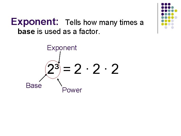 Exponent: Tells how many times a base is used as a factor. Exponent 2³