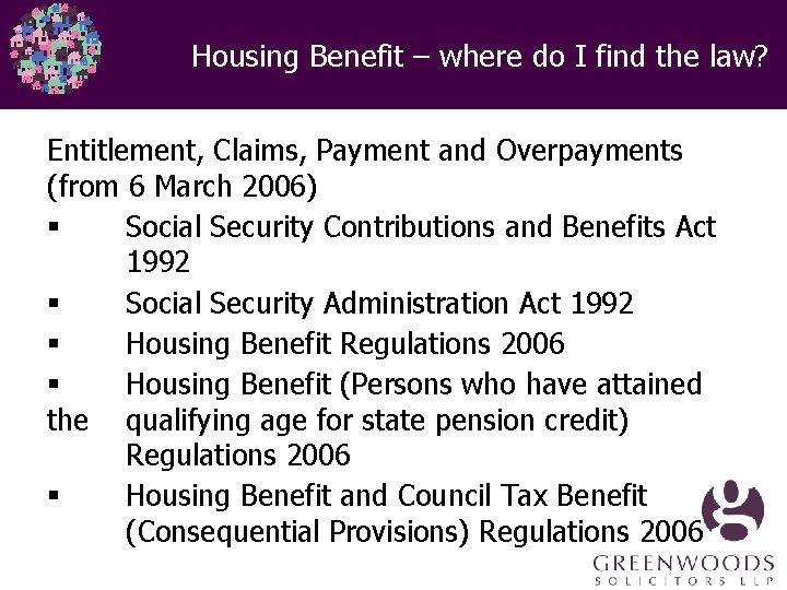 Housing Benefit – where do I find the law? Entitlement, Claims, Payment and Overpayments