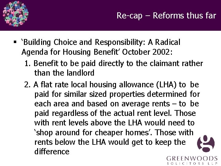 Re-cap – Reforms thus far § 'Building Choice and Responsibility: A Radical Agenda for