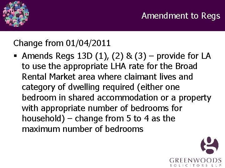 Amendment to Regs Change from 01/04/2011 § Amends Regs 13 D (1), (2) &