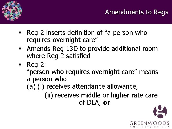 """Amendments to Regs § Reg 2 inserts definition of """"a person who requires overnight"""