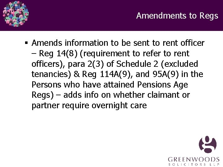 Amendments to Regs § Amends information to be sent to rent officer – Reg