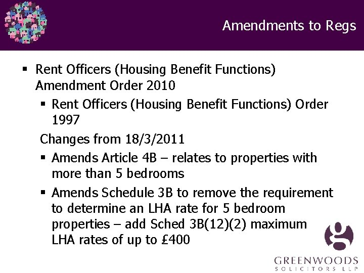 Amendments to Regs § Rent Officers (Housing Benefit Functions) Amendment Order 2010 § Rent