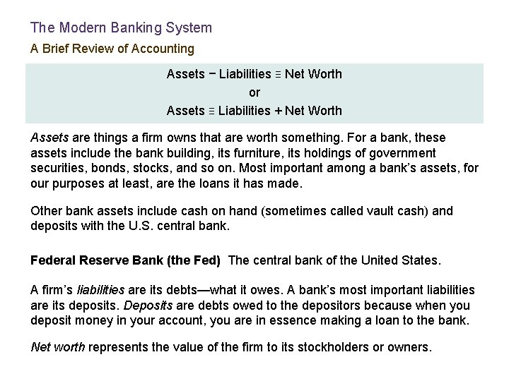 The Modern Banking System A Brief Review of Accounting Assets − Liabilities ≡ Net
