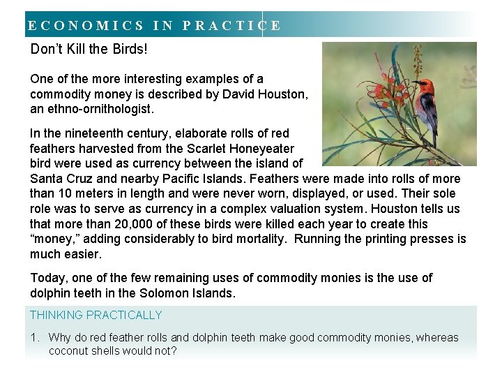ECONOMICS IN PRACTICE Don't Kill the Birds! One of the more interesting examples of