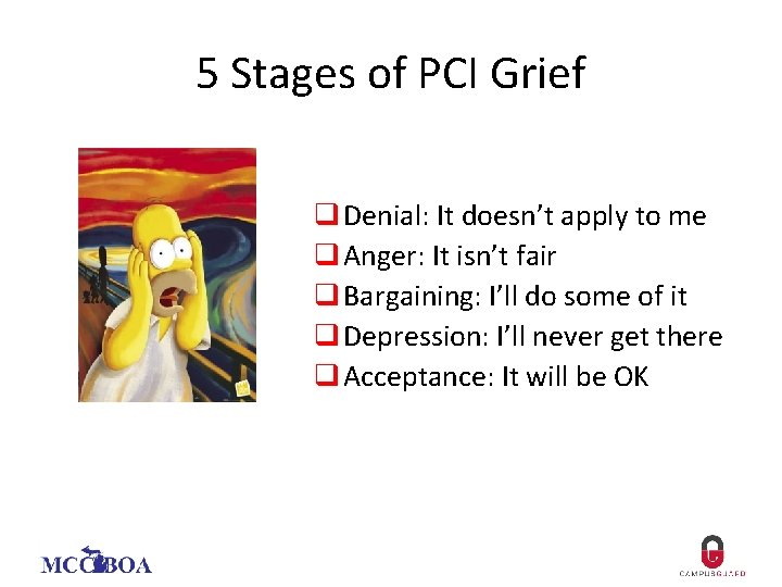 5 Stages of PCI Grief q Denial: It doesn't apply to me q Anger: