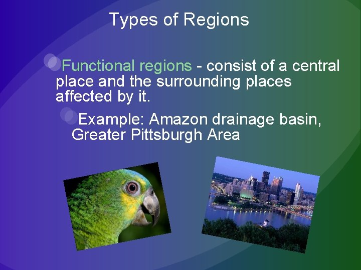 Types of Regions Functional regions - consist of a central place and the surrounding