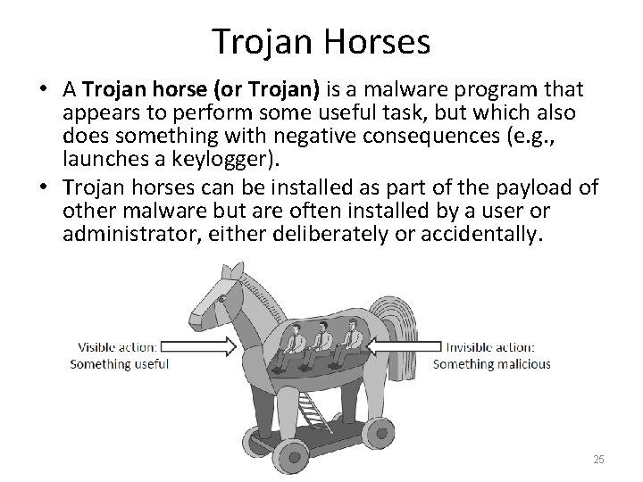 Trojan Horses • A Trojan horse (or Trojan) is a malware program that appears