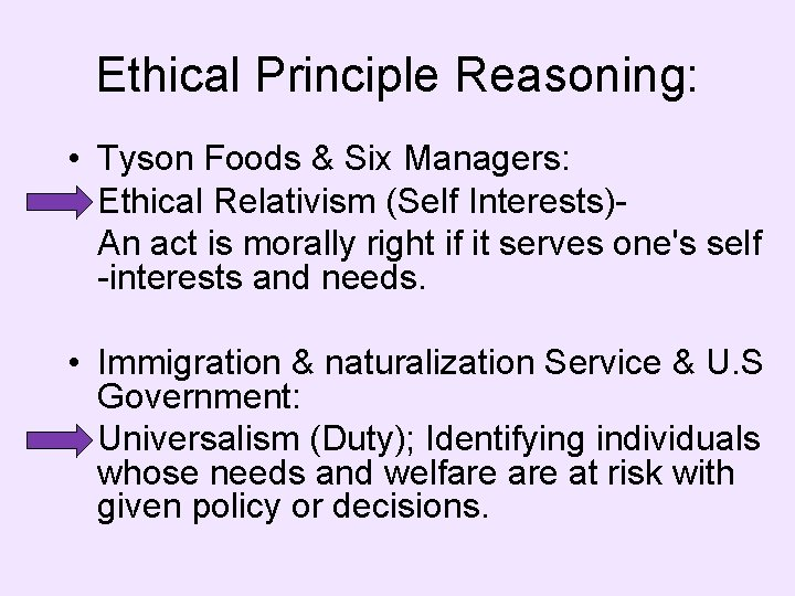 Ethical Principle Reasoning: • Tyson Foods & Six Managers: Ethical Relativism (Self Interests)An act