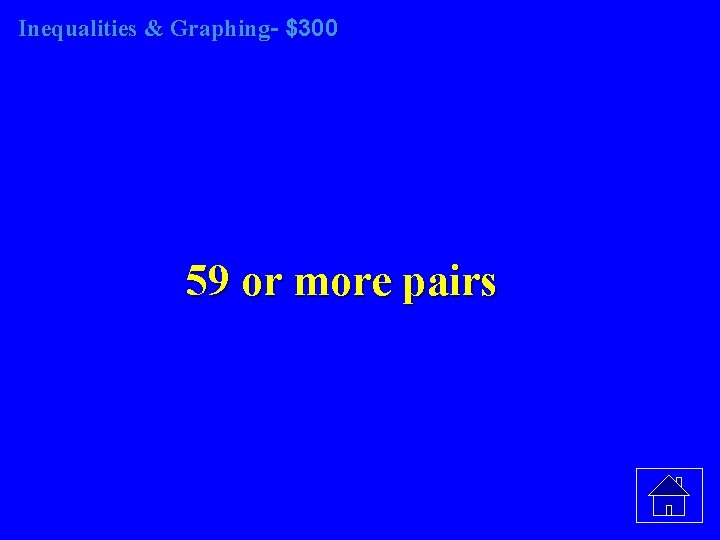 Inequalities & Graphing- $300 59 or more pairs