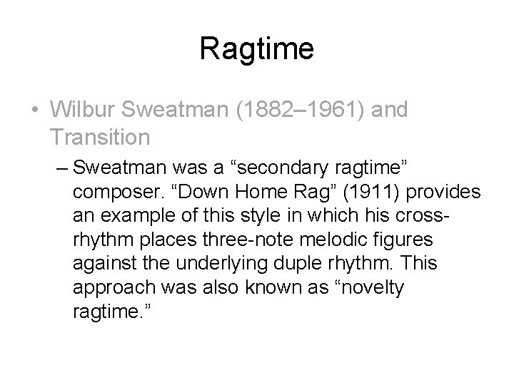 Example Of Ragtime