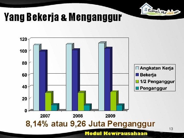 Yang Bekerja & Menganggur 8, 14% atau 9, 26 Juta Penganggur 13