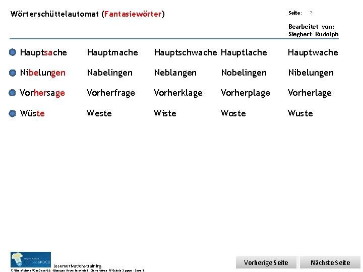 Übungsart: Wörterschüttelautomat (Fantasiewörter) Seite: 7 Bearbeitet von: Siegbert Rudolph Hauptsache Hauptmache Hauptschwache Hauptlache Hauptwache