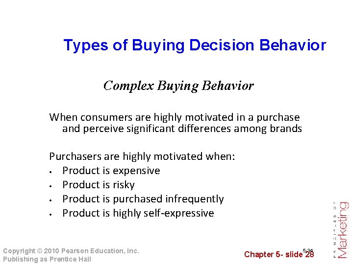 Types of Buying Decision Behavior Complex Buying Behavior When consumers are highly motivated in