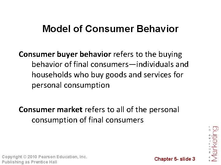 Model of Consumer Behavior Consumer buyer behavior refers to the buying behavior of final