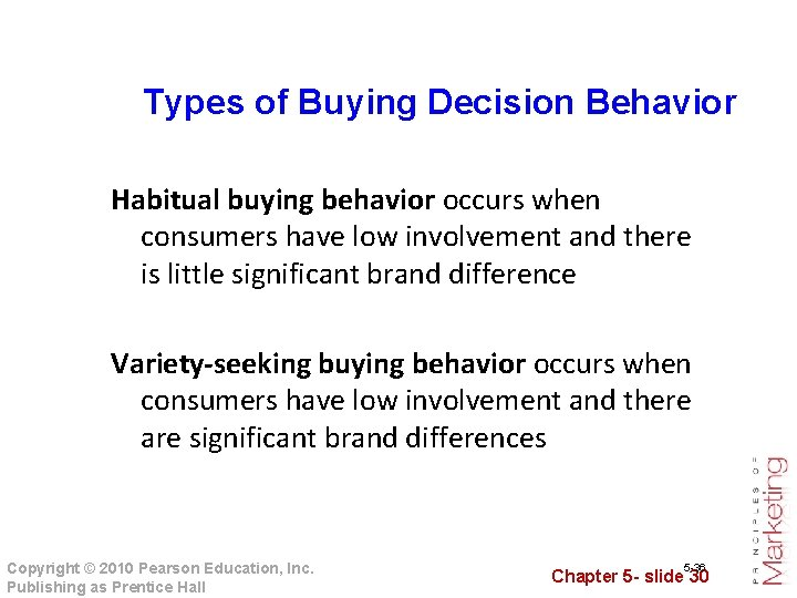 Types of Buying Decision Behavior Habitual buying behavior occurs when consumers have low involvement