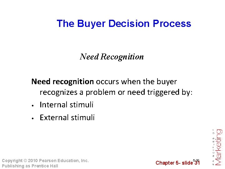 The Buyer Decision Process Need Recognition Need recognition occurs when the buyer recognizes a