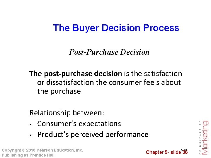 The Buyer Decision Process Post-Purchase Decision The post-purchase decision is the satisfaction or dissatisfaction