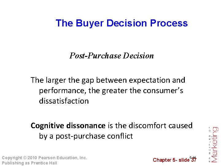 The Buyer Decision Process Post-Purchase Decision The larger the gap between expectation and performance,