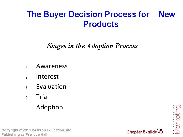 The Buyer Decision Process for New Products Stages in the Adoption Process 1. 2.