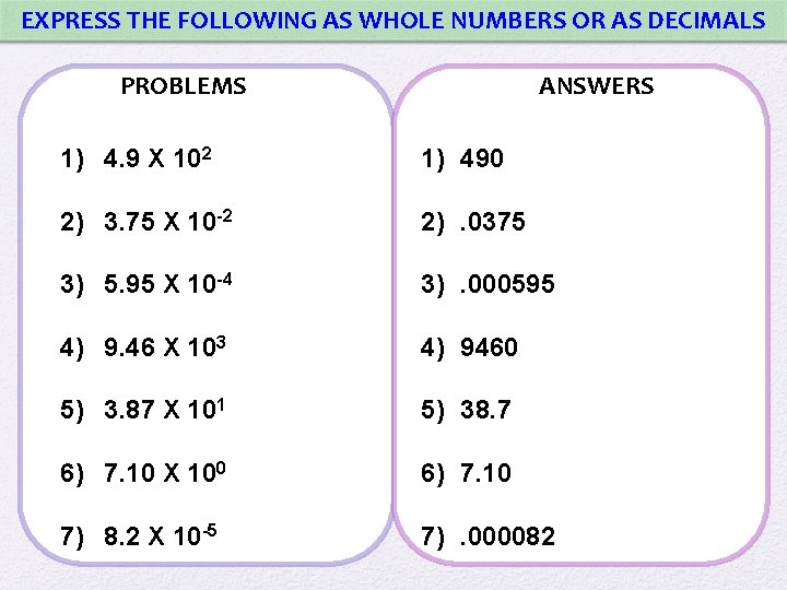 EXPRESS THE FOLLOWING AS WHOLE NUMBERS OR AS DECIMALS PROBLEMS ANSWERS 1) 4. 9