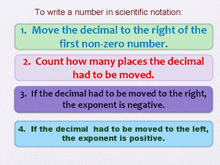 To write a number in scientific notation: 1. Move the decimal to the right