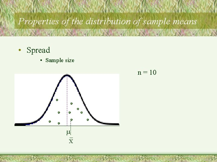 Properties of the distribution of sample means • Spread • Sample size n =