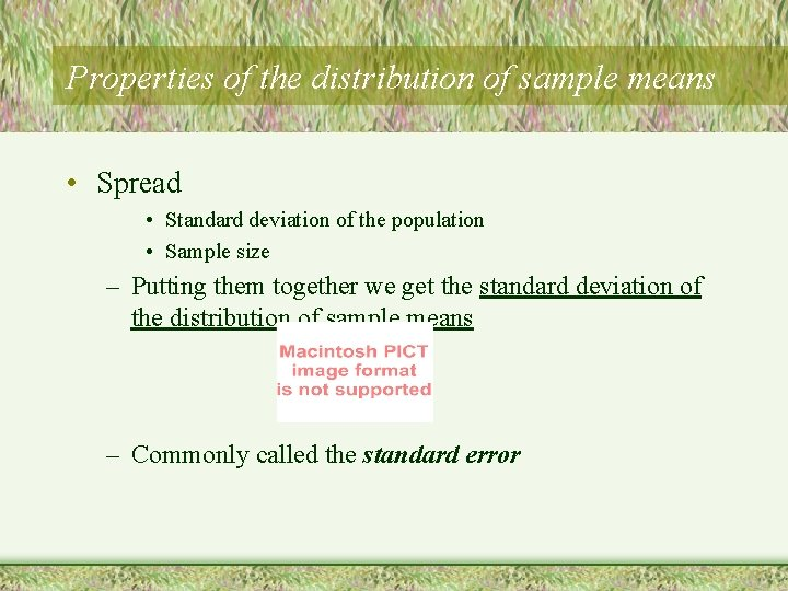 Properties of the distribution of sample means • Spread • Standard deviation of the