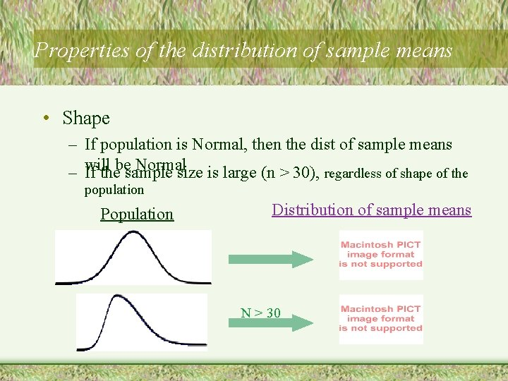 Properties of the distribution of sample means • Shape – If population is Normal,