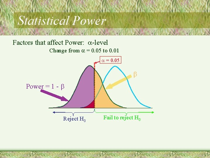Statistical Power Factors that affect Power: -level Change from = 0. 05 to 0.