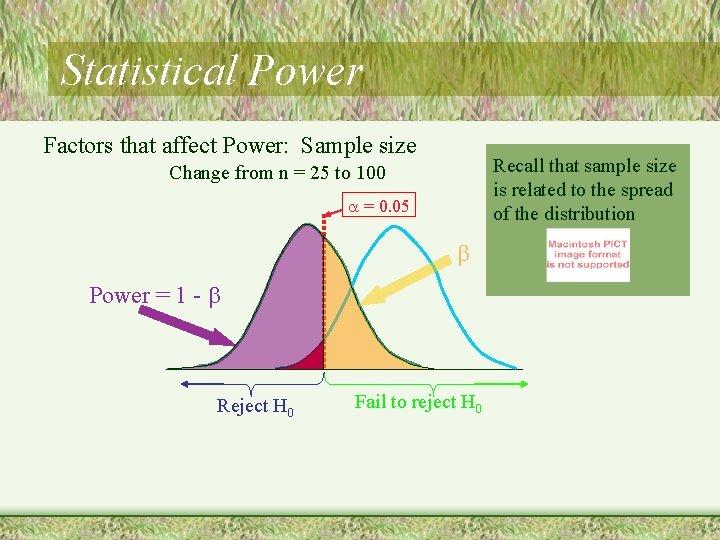 Statistical Power Factors that affect Power: Sample size Recall that sample size is related
