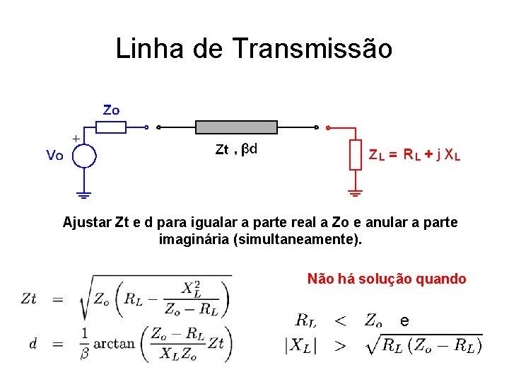 Linha de Transmissão Ajustar Zt e d para igualar a parte real a Zo