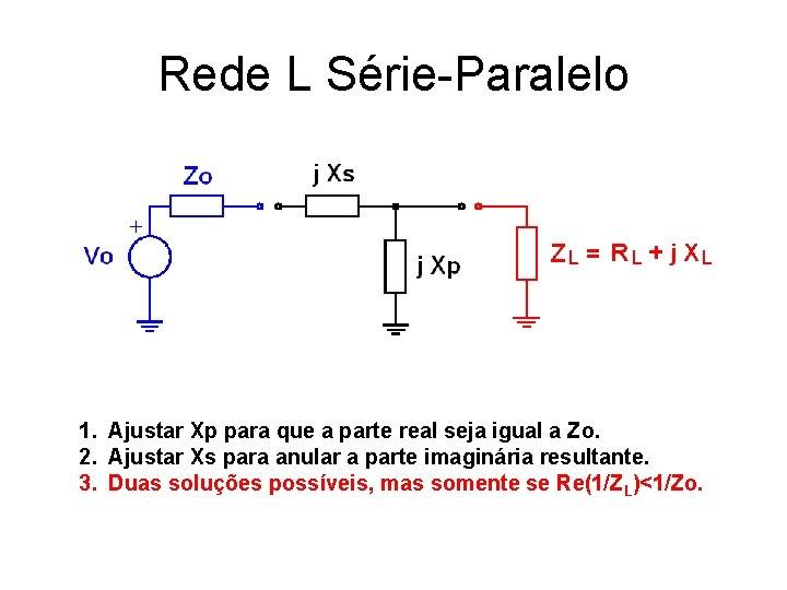 Rede L Série-Paralelo 1. Ajustar Xp para que a parte real seja igual a