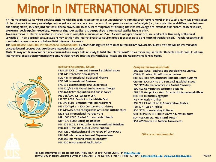 Minor in INTERNATIONAL STUDIES An International Studies minor provides students with the tools necessary