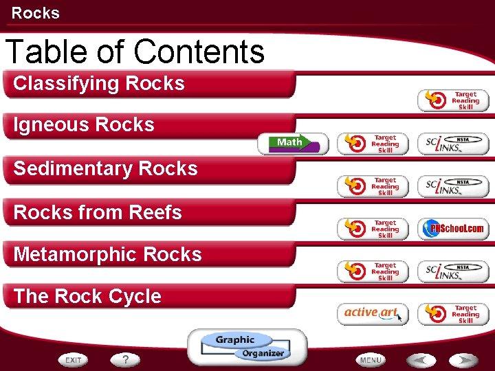 Rocks Table of Contents Classifying Rocks Igneous Rocks Sedimentary Rocks from Reefs Metamorphic Rocks
