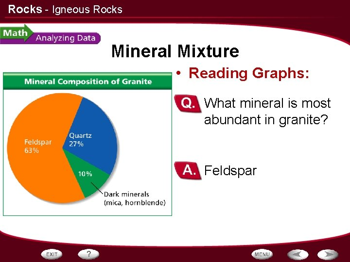 Rocks - Igneous Rocks Mineral Mixture • Reading Graphs: – What mineral is most