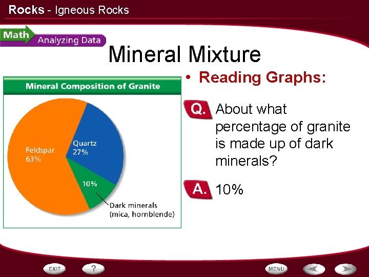 Rocks - Igneous Rocks Mineral Mixture • Reading Graphs: – About what percentage of