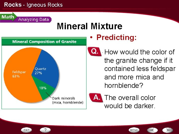 Rocks - Igneous Rocks Mineral Mixture • Predicting: – How would the color of