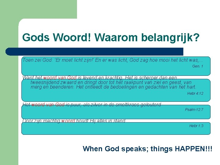 Gods Woord! Waarom belangrijk? Toen zei God: 'Er moet licht zijn!' En er was