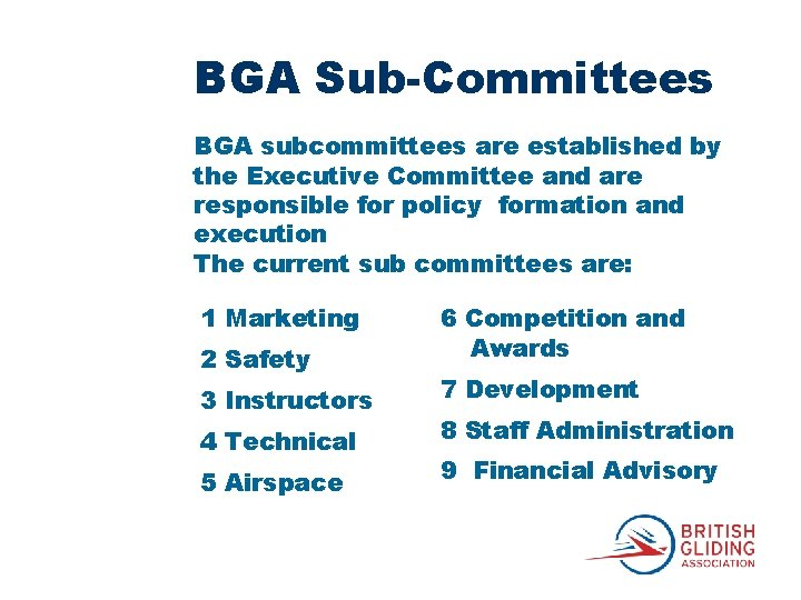 BGA Sub-Committees BGA subcommittees are established by the Executive Committee and are responsible for