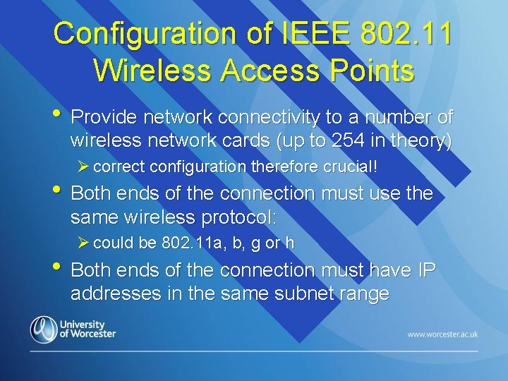 Configuration of IEEE 802. 11 Wireless Access Points • Provide network connectivity to a