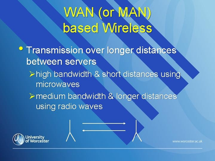WAN (or MAN) based Wireless • Transmission over longer distances between servers Øhigh bandwidth